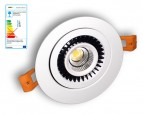 NOSER LED-Downlight weiss, 7W, 420lm/1227cd, warmweiss - 3000°K, dimmbar